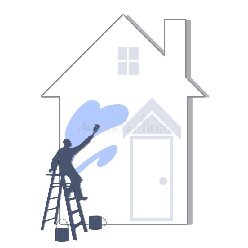 Pintando la casa azul clara ilustración del vector