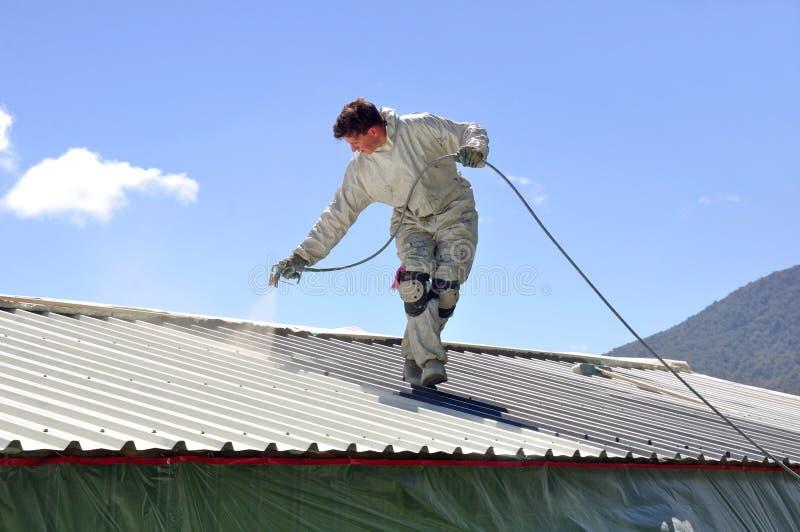Pintando o telhado imagem de stock