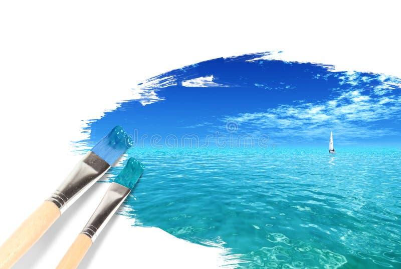 Pintando um seascape tropical ilustração do vetor