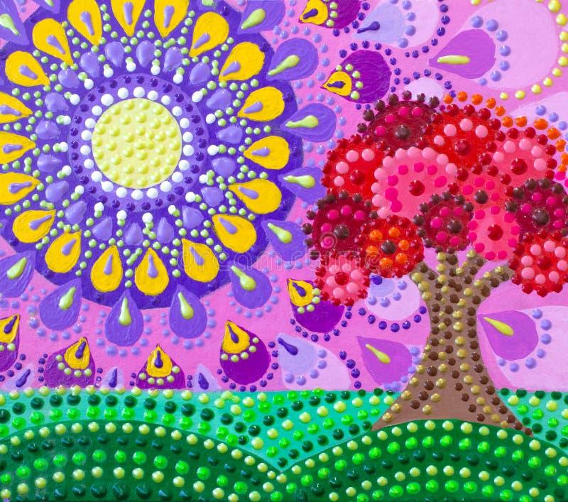 Pintando, un árbol, un jardín floreciente contra una mandala brillante Colores brillantes fotografía de archivo