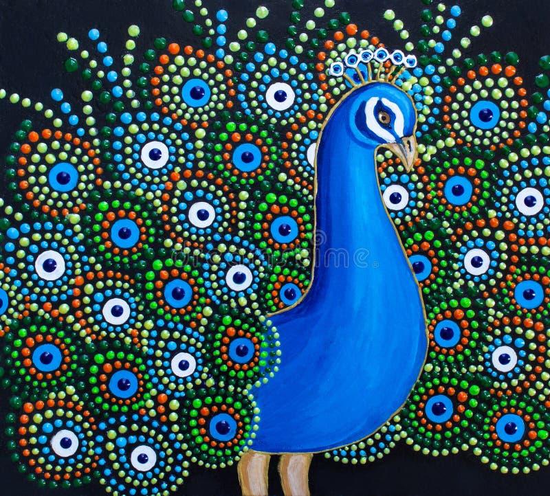 Pintando, un pavo real con colores brillantes de una cola mullida stock de ilustración