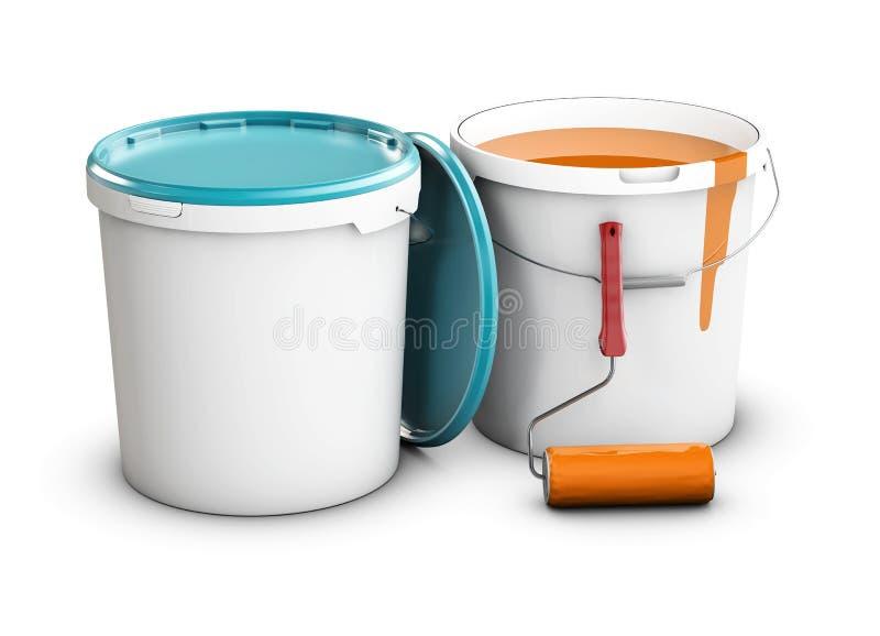 Pinte as latas e o rolo isolados na ilustração 3d foto-realística branca ilustração royalty free