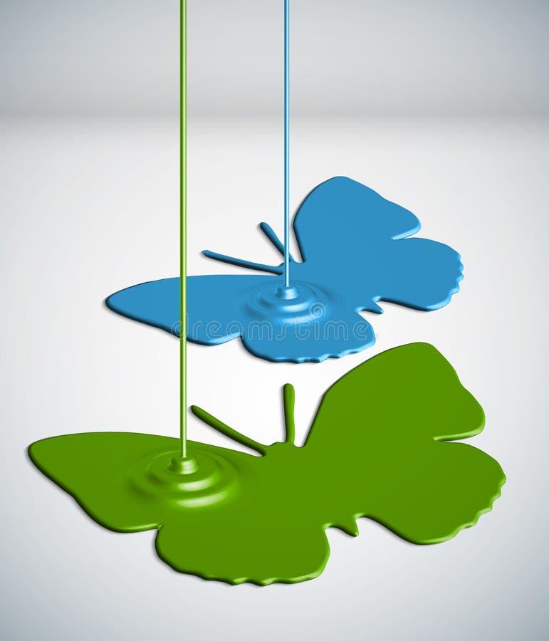 Pinte borboletas do gotejamento ilustração stock