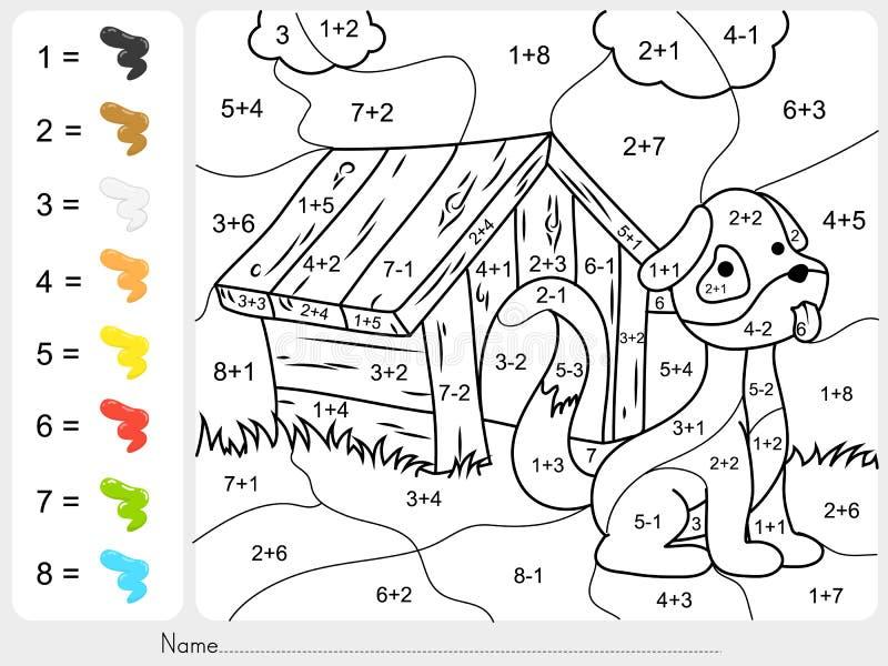 Pinte a cor por números da adição e da subtração ilustração do vetor
