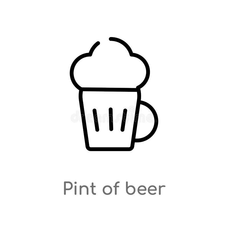 pinte d'ensemble d'icône de vecteur de bière ligne simple noire d'isolement illustration d'?l?ment de concept de boissons pinte e illustration stock