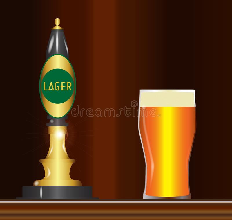 Pinte de traction de Lager On The Bar With illustration stock
