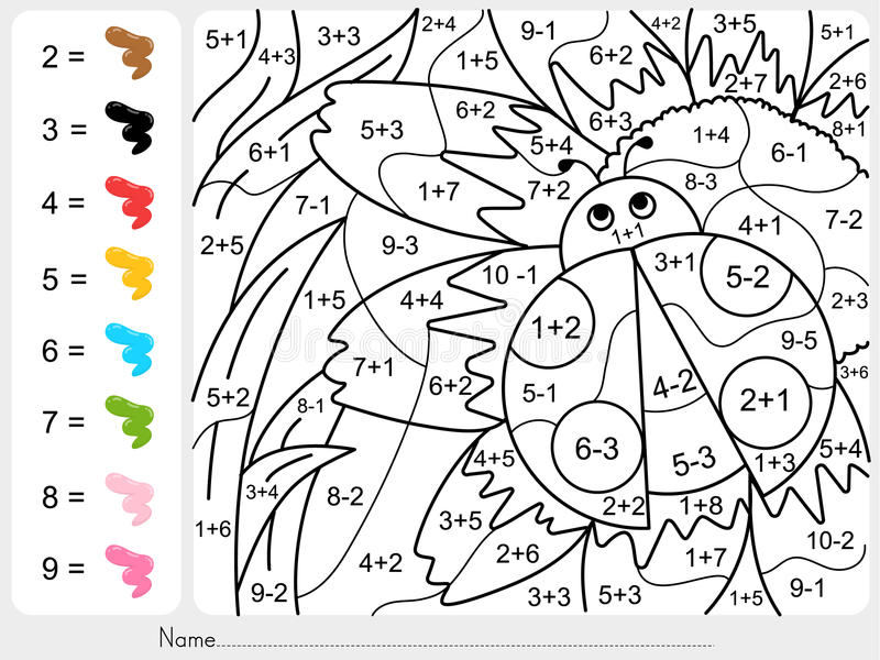 Pinte el color por números - adición y hoja de trabajo de la substracción para la educación libre illustration