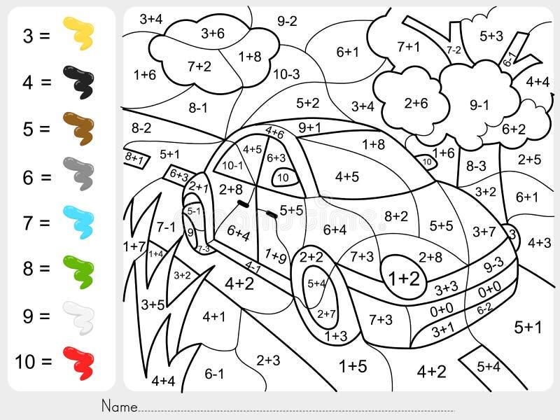 Pinte el color por números de la adición y de la substracción ilustración del vector