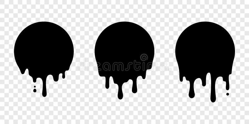 Pinte el descenso del líquido del vector de la etiqueta del círculo de la etiqueta engomada del goteo libre illustration