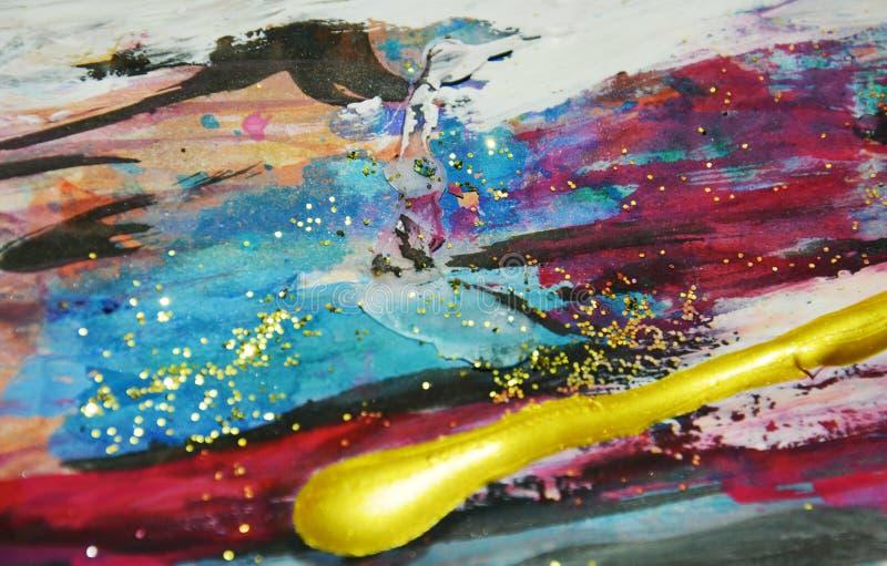 Pinte el fondo colorido chispeante vivo de la acuarela, movimientos del cepillo, fondo hipnótico orgánico fotos de archivo