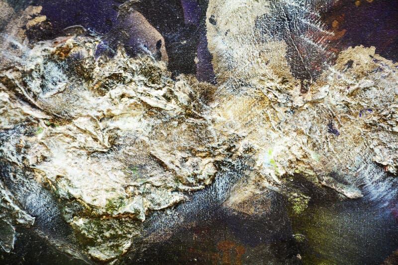 Pinte el fondo creativo púrpura verde plateado azul de la pintura flúida de los movimientos del cepillo Fondo del extracto de la  imagenes de archivo