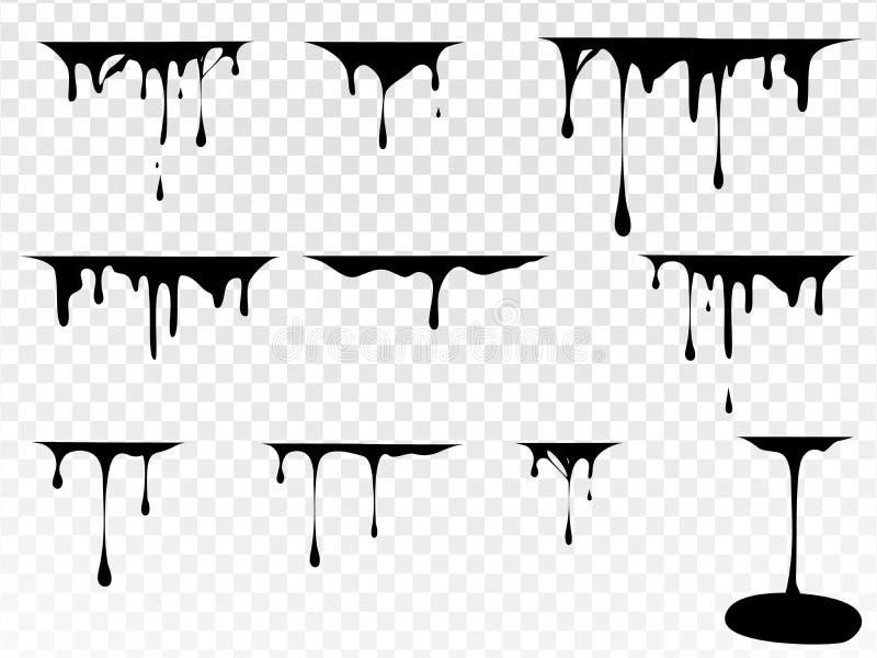 Pinte el goteo Mancha abstracta y gota de la pintura Líquido del goteo Pinte los flujos Manchas actuales, tintas Salpicadura y stock de ilustración