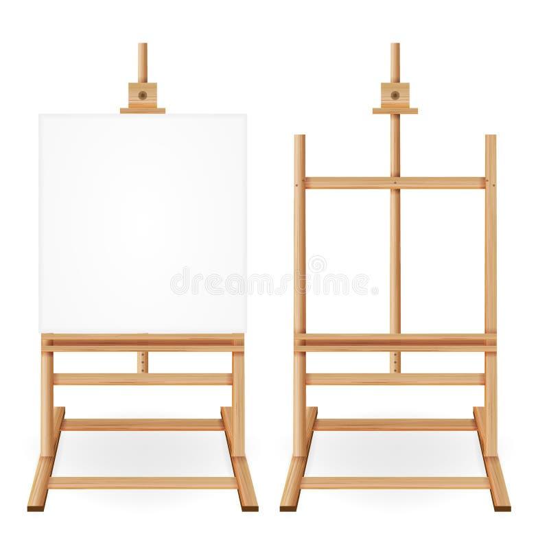 Pinte el vector del escritorio Caballete de madera con el Libro Blanco vacío Aislado en el fondo blanco Pintor realista Desk Set  stock de ilustración