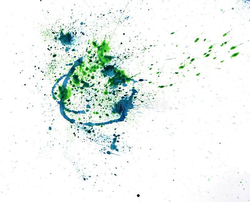 Pinte la salpicadura del watercolour azul Mancha del punto de las acuarelas aislada fotografía de archivo