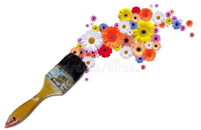 Pinte las flores ilustración del vector