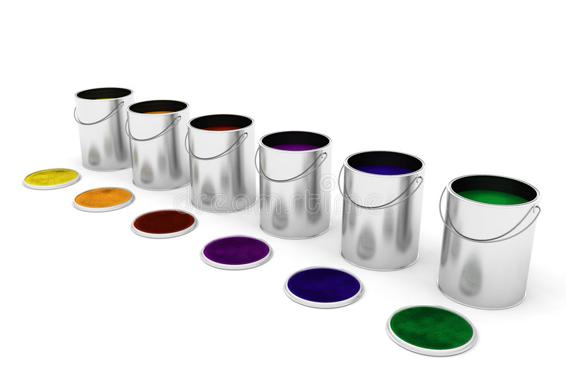 Pinte las latas stock de ilustración