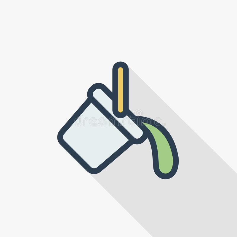 Pinte a linha fina ícone liso da cubeta da cor Símbolo linear do vetor Projeto longo colorido da sombra ilustração stock