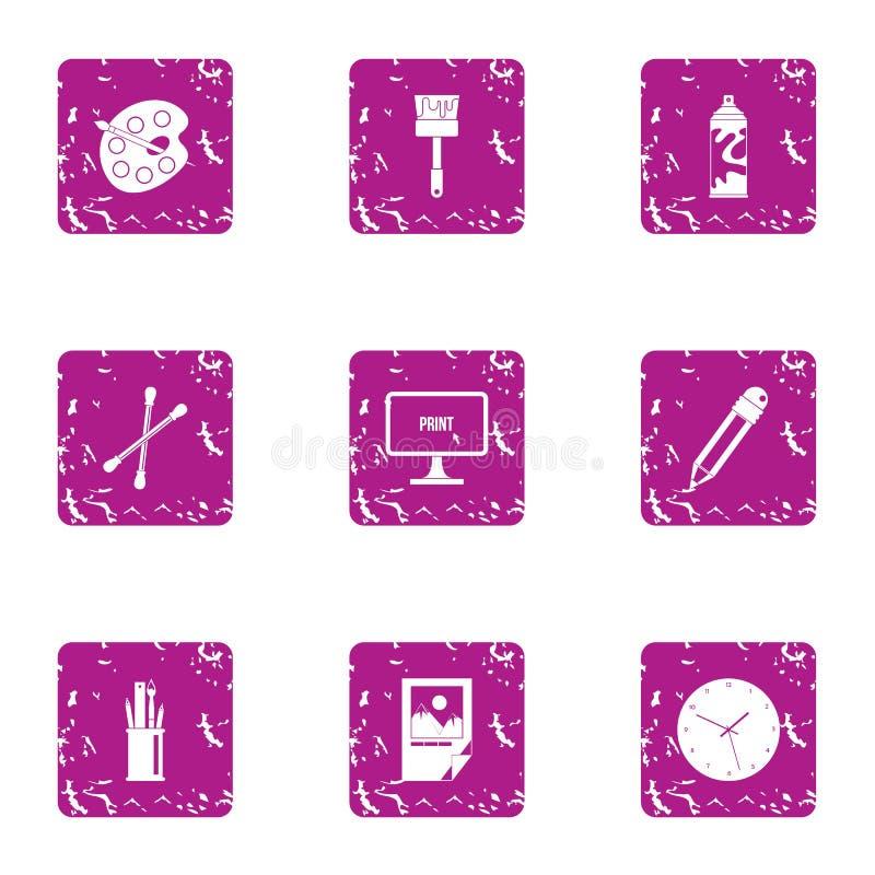 Pinte los iconos materiales fijados, estilo del grunge libre illustration