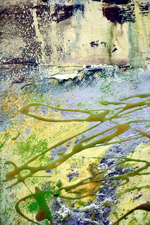 Pinte los movimientos negros rojos coloridos del cepillo del verde del oro amarillo, fondo orgánico de la persona hipnotizada de  imagen de archivo libre de regalías