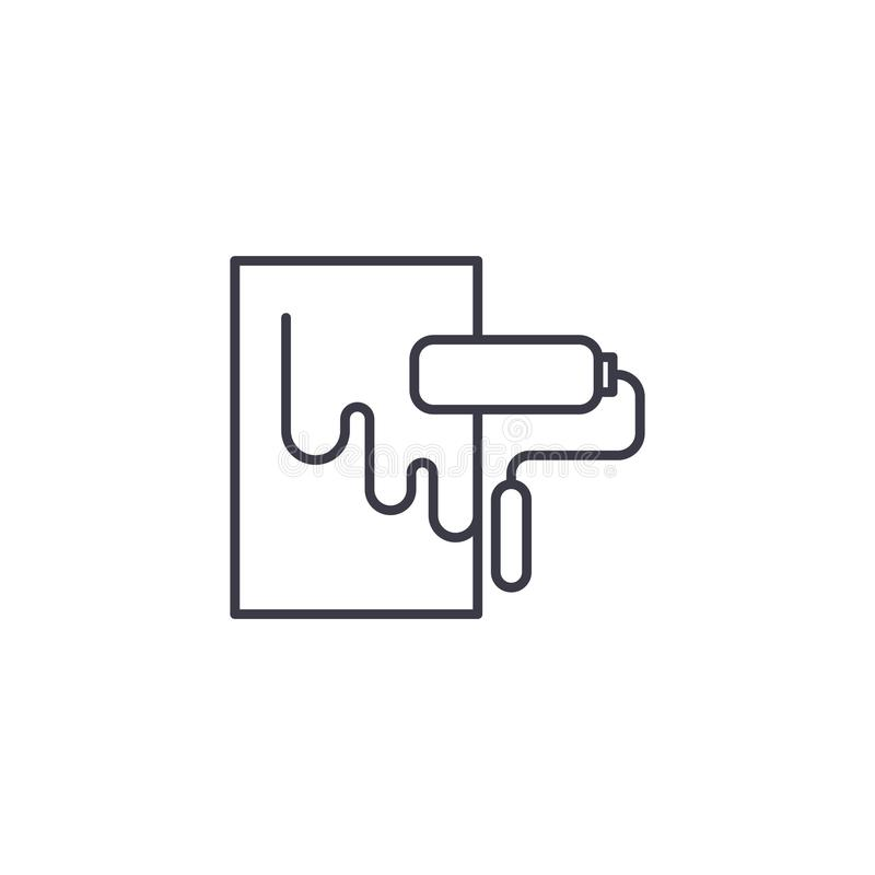 Pinte o conceito linear do ícone do rolo da parede Pinte a linha sinal do rolo da parede do vetor, símbolo, ilustração ilustração stock