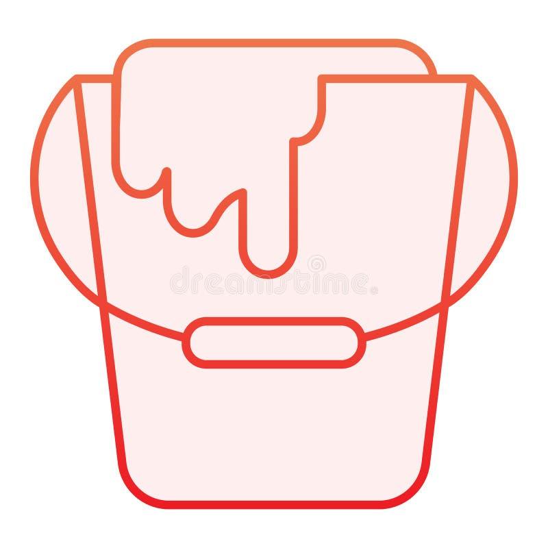 Pinte o ?cone liso da cubeta Ícones vermelhos do recipiente da pintura no estilo liso na moda Projeto do estilo do inclinação da  ilustração do vetor