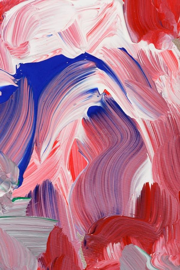 Pinte o fundo abstrato do curso em tons vermelhos, brancos e azuis fotografia de stock royalty free