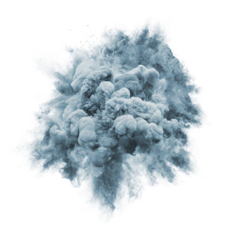Pinte o fundo cinzento da textura do sumário do respingo da nuvem de poeira da partícula da explosão da cor do pó fotos de stock