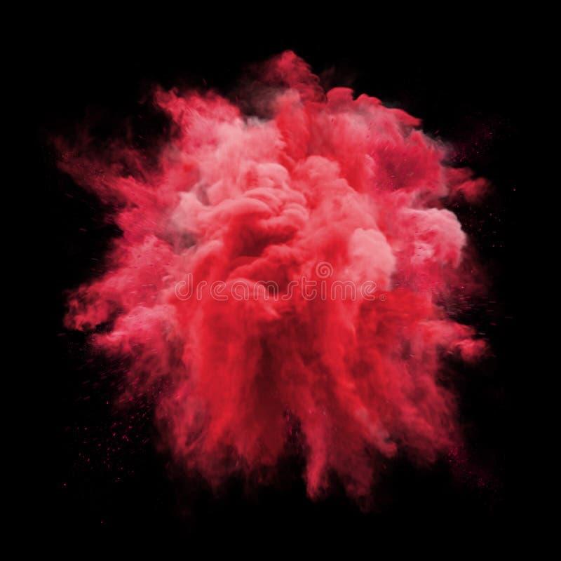 Pinte o fundo da textura do sumário do respingo da nuvem de poeira da partícula da explosão da cor vermelha do pó foto de stock royalty free
