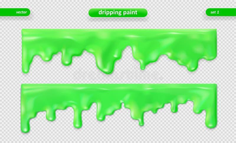 Pinte o gotejamento Superfície lustrosa Grupo do vetor Eps 10 ilustração stock