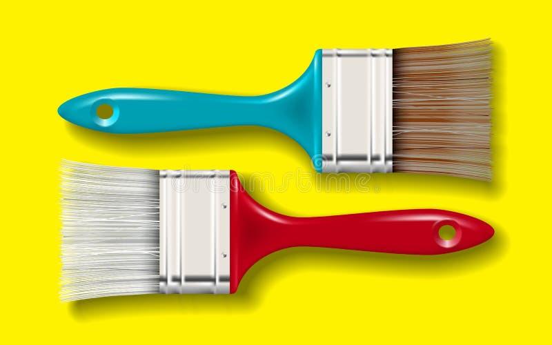 Pinte o grupo de escova da cerda ilustração stock