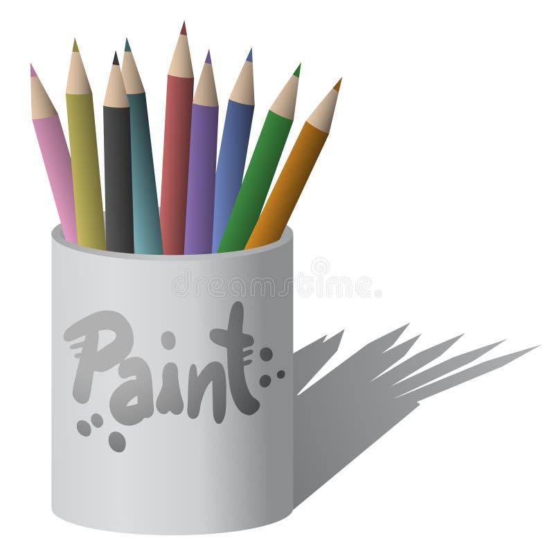 Pinte o lápis da arte ilustração stock