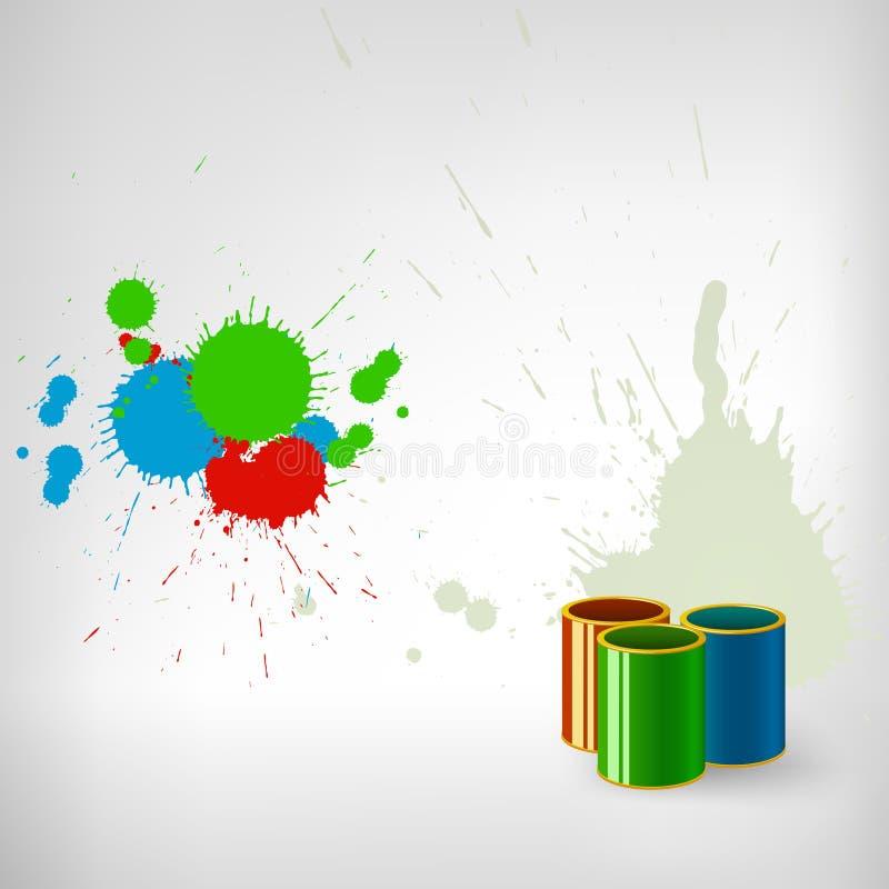Pinte o respingo colorido com lata ilustração stock