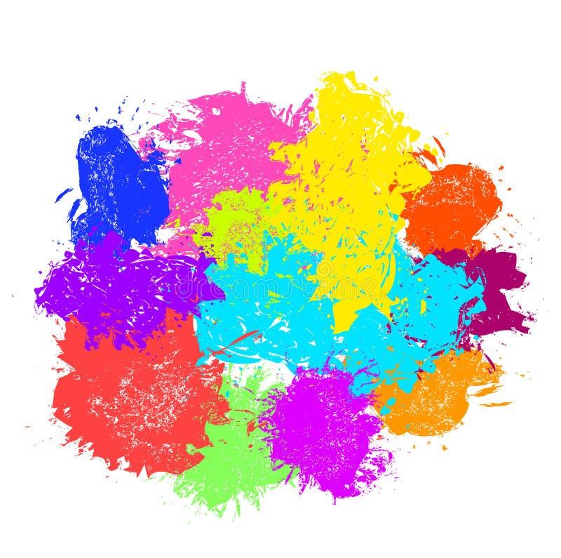 Pinte o respingo Grupo do vetor de cursos da escova ilustração stock