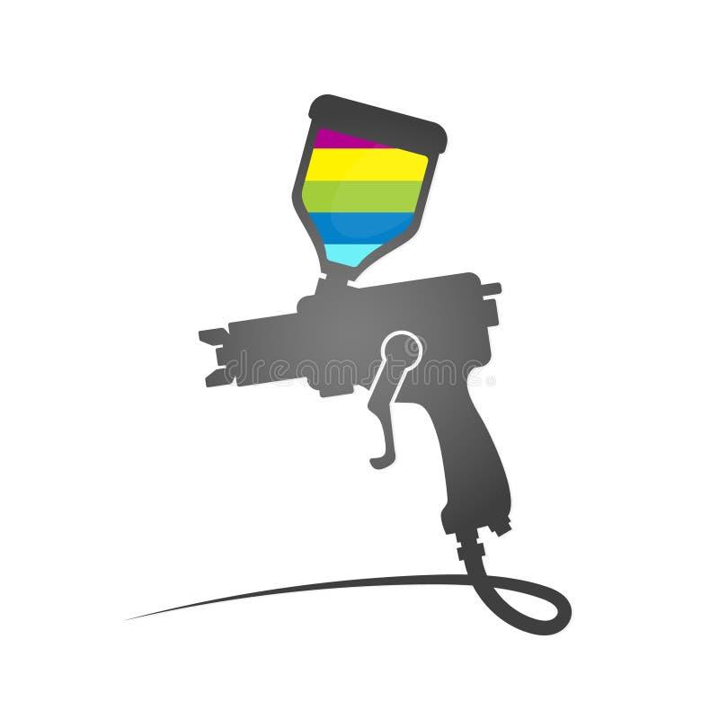 Pinte o símbolo da arma de pulverizador ilustração stock