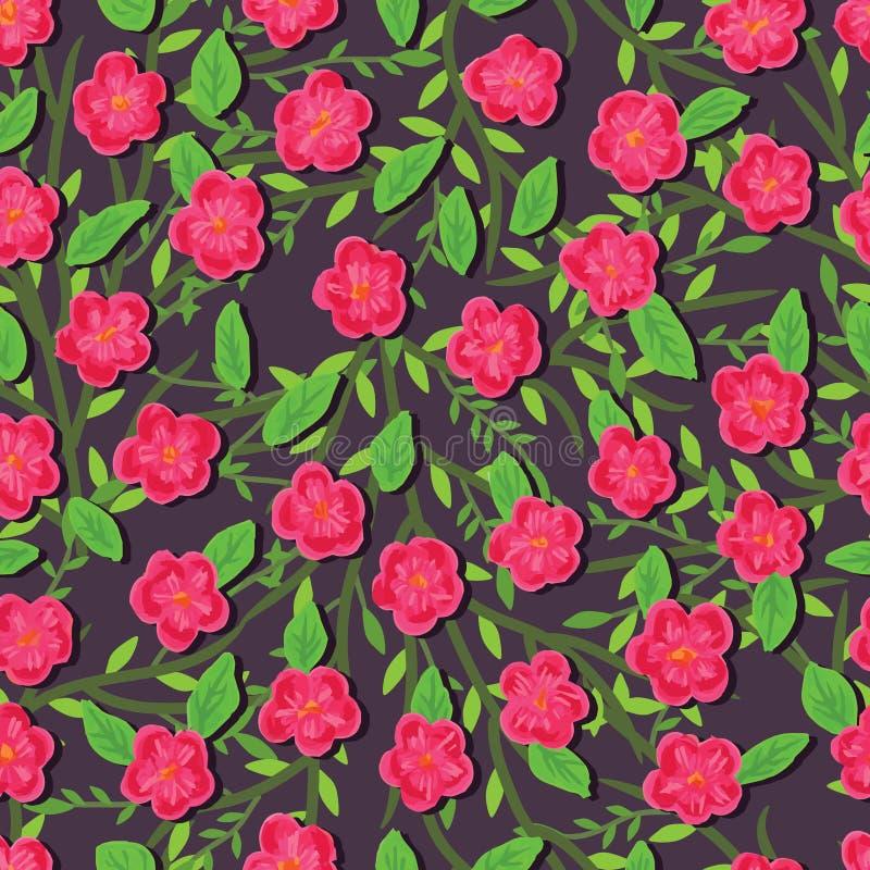 Pinte o teste padrão sem emenda da flor cor-de-rosa ilustração do vetor