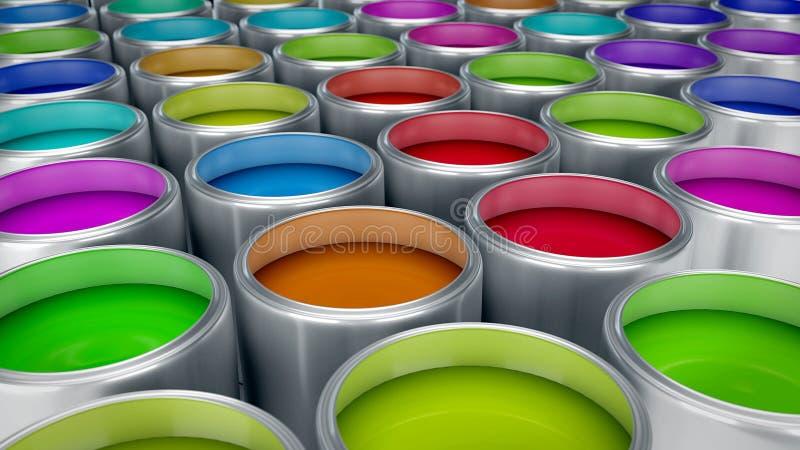 Pinte a rendição das latas 3d ilustração do vetor