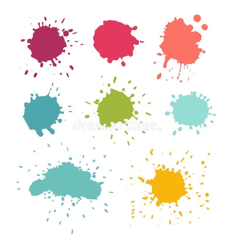 Pinte Splats Grupo da gota da mancha e da água ilustração stock