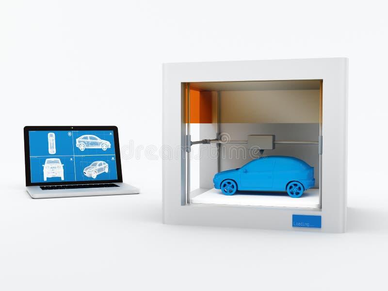 pinter 3d, imprimant la voiture illustration libre de droits