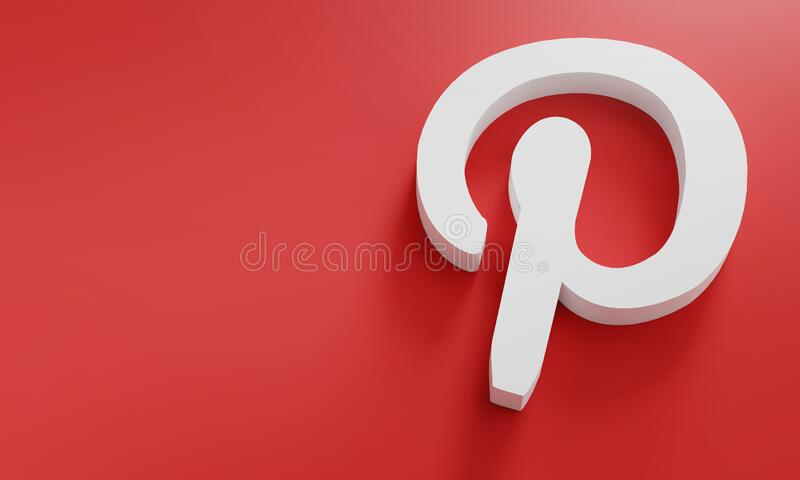 Pinterest Logo Minimal Simple Design Template. Copy Space 3D royalty free stock photography