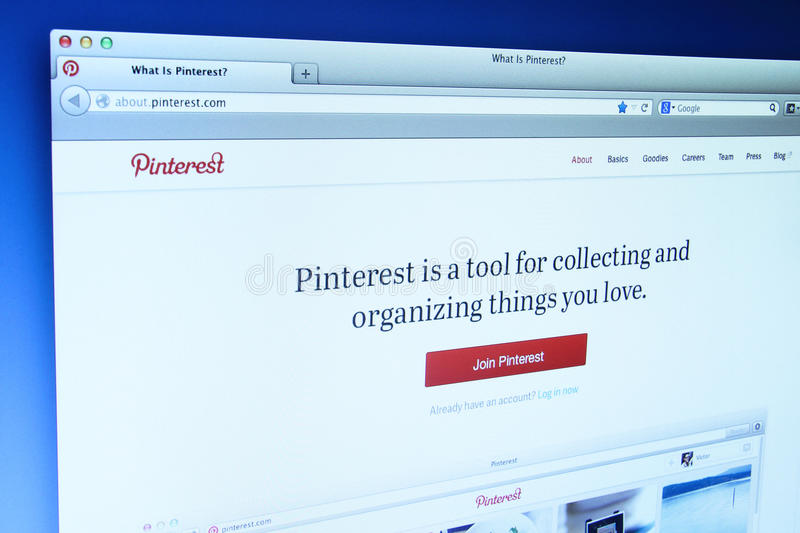 Pinterest Website. Johor, Malaysia - Dec 11, 2013: Photo of Pinterest webpage on a monitor screen. Pinterest is a social bookmarking site where users collect and royalty free stock photos