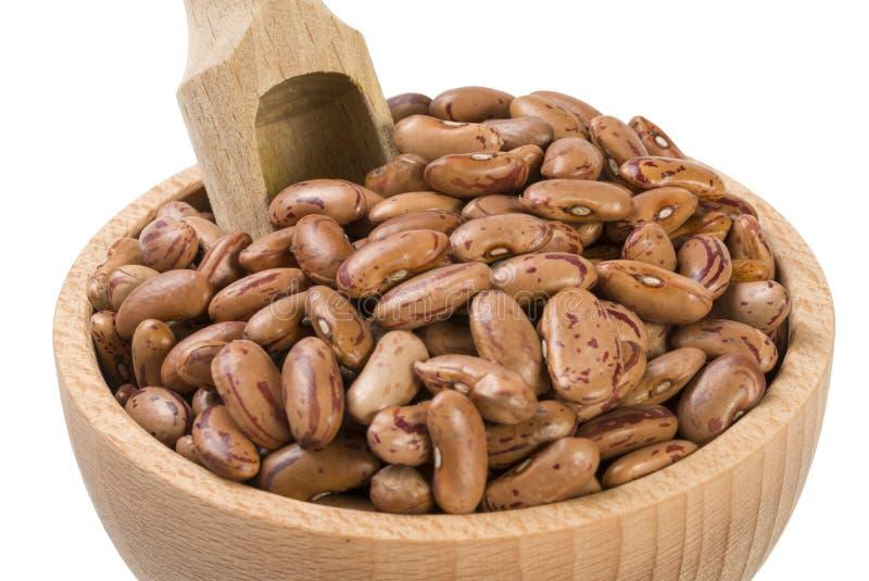 Pinto φασόλι στο ξύλινο κύπελλο και σέσουλα που απομονώνεται στο άσπρο υπόβαθρο διατροφή βιο Φυσικό συστατικό τροφίμων στοκ εικόνες