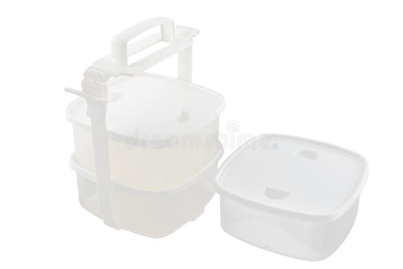 Pinto vuoto, contenitori per alimento isolato su fondo bianco immagine stock