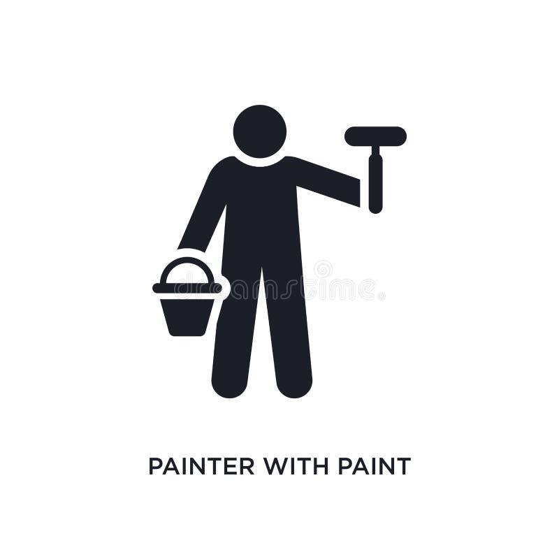 pintor con el icono aislado cubo de la pintura ejemplo simple del elemento de iconos del concepto de los seres humanos pintor con libre illustration