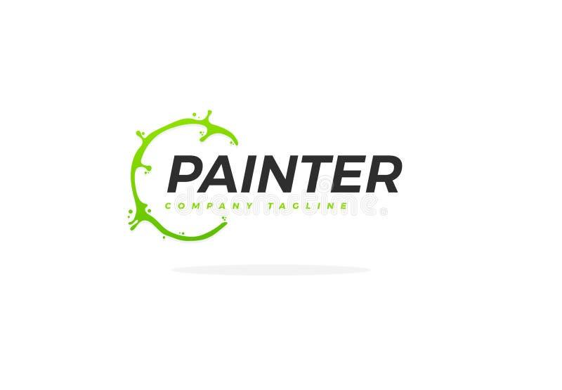 Pintor creativo Logo With Green Paint Circle ilustración del vector