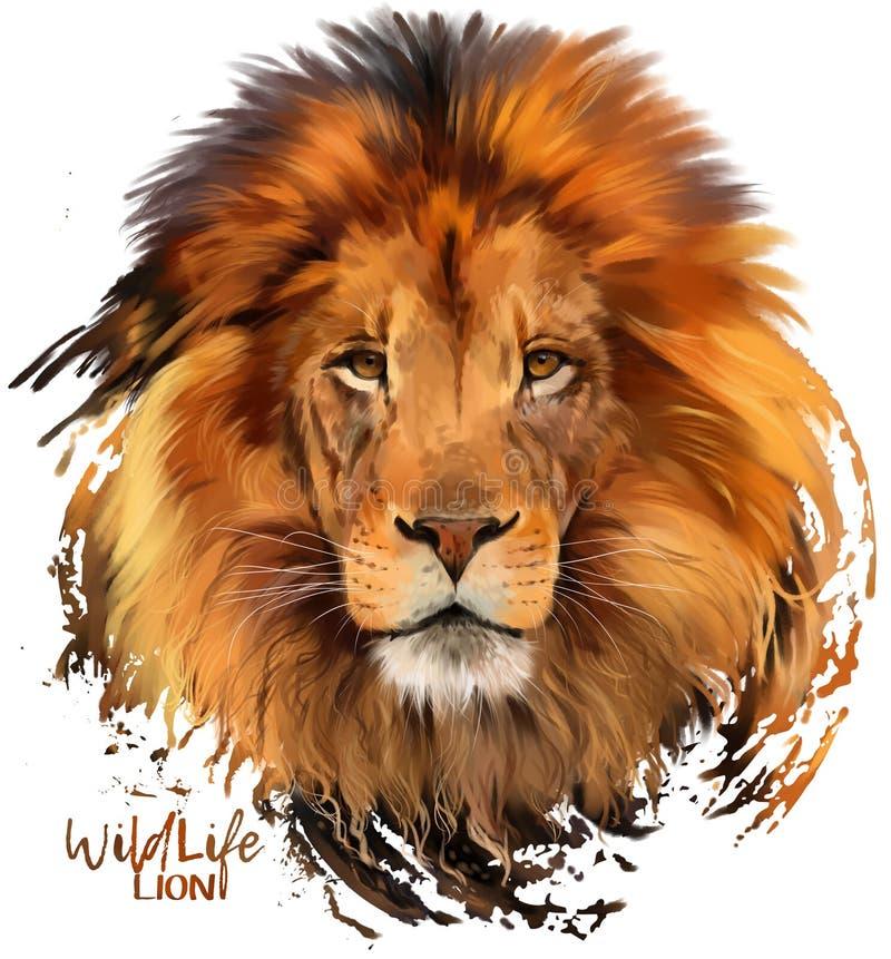 Pintor da aquarela do leão ilustração royalty free