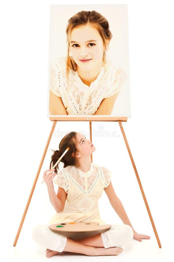 Pintor da menina da criança imagem de stock royalty free