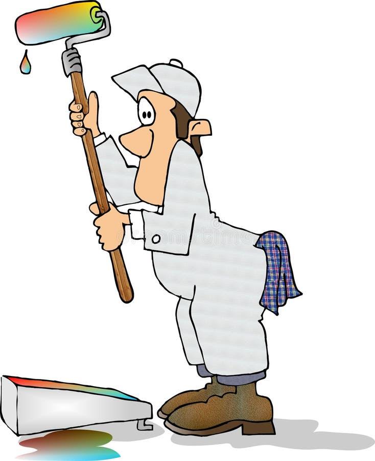 Pintor de casa demasiado ilustração stock