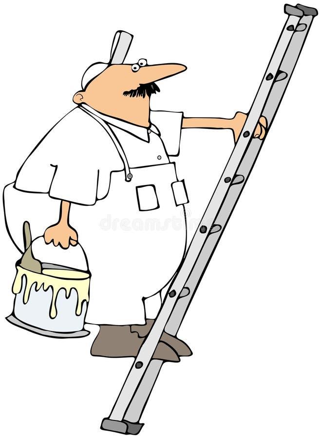 Pintor de casa em uma escada ilustração do vetor
