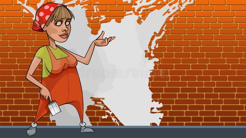 Pintor de casa fêmea dos desenhos animados em um fundo da parede de tijolo com pintura branca ilustração royalty free