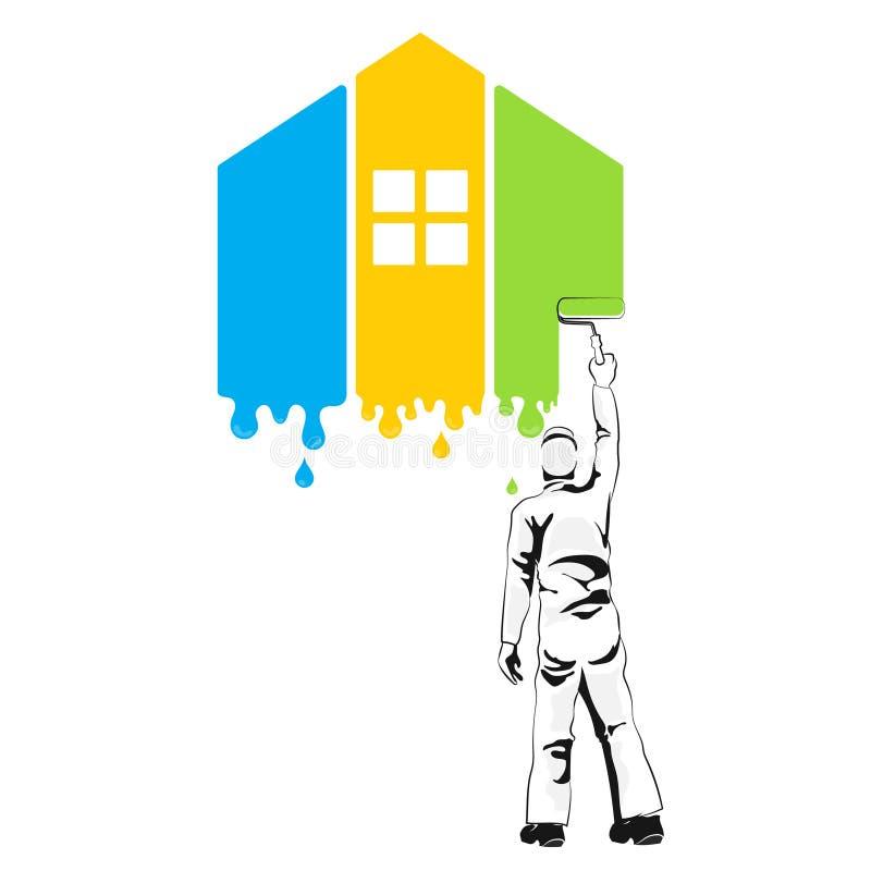 Pintor de casa no trabalho ilustração stock